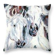 White Arabians Throw Pillow