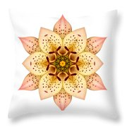 Asiatic Lily II Flower Mandala White Throw Pillow