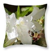White Azalea With Friend Throw Pillow