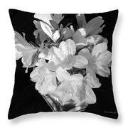 White Azaleas On Black Throw Pillow
