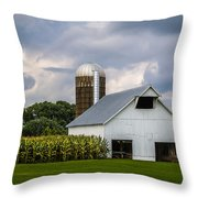 White Barn And Silo With Storm Clouds Throw Pillow