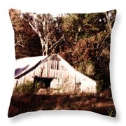 White Barn In Autumn Throw Pillow