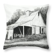White Barn On Bluff Road Throw Pillow