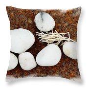 White Beach Rock Vignette Throw Pillow