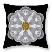 White Beach Rose IIi Flower Mandala Throw Pillow