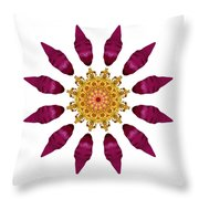 Beach Rose Iv Flower Mandala White Throw Pillow