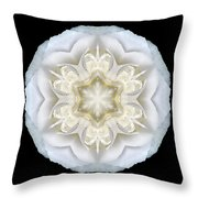 White Begonia II Flower Mandala Throw Pillow by David J Bookbinder