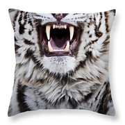 White Bengal Tiger At Forestry Farm Throw Pillow