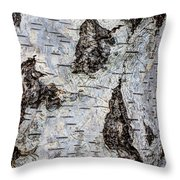 White Birch Abstract  Throw Pillow