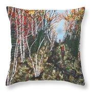 White Birch Trail Ride Throw Pillow