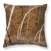 White Birch Trees In The Brown And Orange Forest Throw Pillow