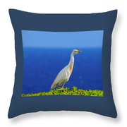 White Bird Green Plants Blue Sea And Sky Throw Pillow