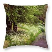 White Bloom Along The Dutch Canal. Netherlands Throw Pillow