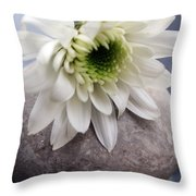 White Blossom On Rocks Throw Pillow by Linda Woods