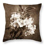 White Blossoms - Sepia Throw Pillow