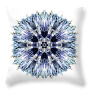 Blue Globe Thistle I Flower Mandala White Throw Pillow