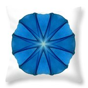 Blue Morning Glory II Flower Mandala White Throw Pillow