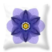 Blue Pansy I Flower Mandala White Throw Pillow
