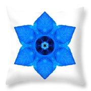 Blue Pansy II Flower Mandala White Throw Pillow
