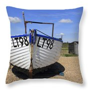 White Boat Throw Pillow