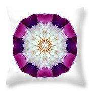 Bowl Of Beauty Peony II Flower Mandala White Throw Pillow