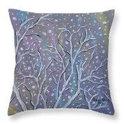 White Branches Throw Pillow