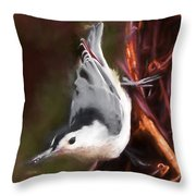 White-breasted Nuthatch - Classic Pose Throw Pillow