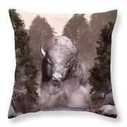 White Buffalo Throw Pillow by Daniel Eskridge