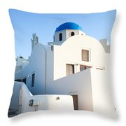White Buildings And Blue Church In Oia Santorini Greece Throw Pillow by Matteo Colombo