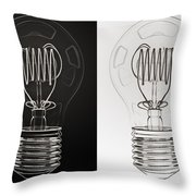 White Bulb Black Bulb Throw Pillow