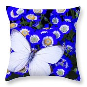 White Butterfly In Blue Flowers Throw Pillow