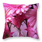 White Butterfly On Pink Gerbera Daisies Throw Pillow
