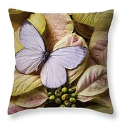 White Butterfly On Poinsettia Throw Pillow