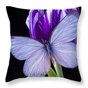 White Butterfly On Purple Tulip Throw Pillow