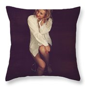 White Button-down Throw Pillow by Laurie Search