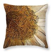 White Cactus Flower Gold Leaf Throw Pillow