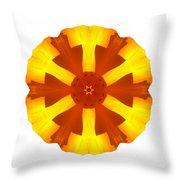 California Poppy I Flower Mandala White Throw Pillow
