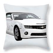 White Camaro Throw Pillow