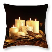 White Candles With Gold Leaf Garland  Throw Pillow