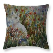 White Cat In Flowers Throw Pillow