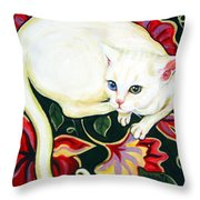White Cat On A Cushion Throw Pillow