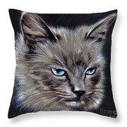 White Cat Portrait Throw Pillow
