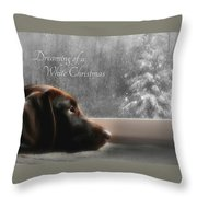 White Christmas Throw Pillow by Lori Deiter