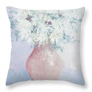White Chrysanthemums Throw Pillow by Jan Matson
