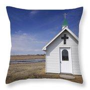 White Church Chapel  On Prairie Throw Pillow