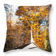 White Church In Autumn Throw Pillow