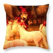 White Circus Ponies Throw Pillow