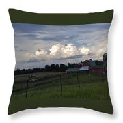 White Clouds Over The Farm Throw Pillow