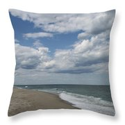 White Clouds Over The Ocean Throw Pillow