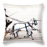 White Coach Horses Throw Pillow